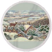 Round Beach Towel featuring the drawing Wyoming Christmas by Dawn Senior-Trask