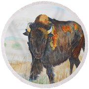 Wyoming - King Of The Prairie Round Beach Towel
