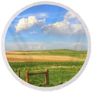 Round Beach Towel featuring the photograph Wyoming Landscape by Lanita Williams
