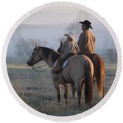 Wyoming Ranch Round Beach Towel by Diane Bohna