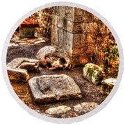 Round Beach Towel featuring the photograph Stones That Don't Lie - Israel by Doc Braham