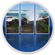 Round Beach Towel featuring the photograph Yachats Bay Oregon by Nick Kloepping