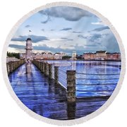 Yacht And Beach Club Lighthouse Round Beach Towel