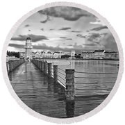 Yacht And Beach Lighthouse In Black And White Walt Disney World Round Beach Towel by Thomas Woolworth