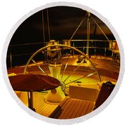 Yacht Cockpit At Night, Caribbean Round Beach Towel