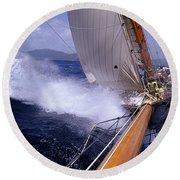 Yacht Race, Caribbean Round Beach Towel