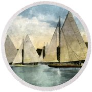 Yachting In Saugatuck Round Beach Towel