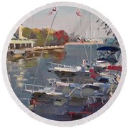 Yachts In Port Credit  Round Beach Towel