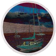Yachts On The River Round Beach Towel