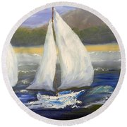 Yachts Sailing Off The Coast Round Beach Towel