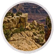 Round Beach Towel featuring the photograph Yaki Point 3 The Grand Canyon by Bob and Nadine Johnston