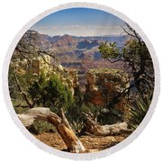 Round Beach Towel featuring the photograph Yaki Point 4 The Grand Canyon by Bob and Nadine Johnston
