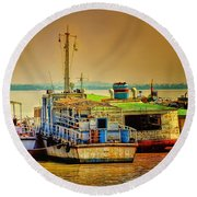 Round Beach Towel featuring the photograph Yangon Harbour by Wallaroo Images