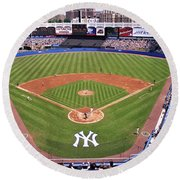 Yankee Stadium Round Beach Towel by Allen Beatty