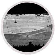 Yankee Stadium Grandstand View Round Beach Towel by Underwood Archives
