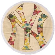 Yankees Vintage Art Round Beach Towel by Florian Rodarte
