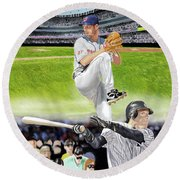 Round Beach Towel featuring the digital art Yankees Vs Indians by Thomas J Herring