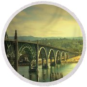 Yaquina Bay Bridge Or Round Beach Towel