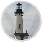 Yaquina Bay Lighthouse Round Beach Towel by Susan Garren