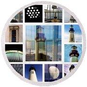 Yaquina Head Lighthouse Essence  Round Beach Towel
