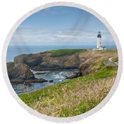 Yaquina Head Lighthouse Round Beach Towel by Jeff Goulden