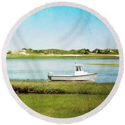 Yarmouth Port Fishing Boat In Green And Blue Round Beach Towel by Brooke T Ryan