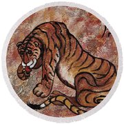 Round Beach Towel featuring the painting Year Of The Tiger by Darice Machel McGuire