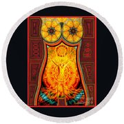 Round Beach Towel featuring the drawing Yearning-spirit Rising by Joseph J Stevens