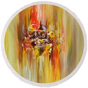 Yellow Abstract Landscape Round Beach Towel