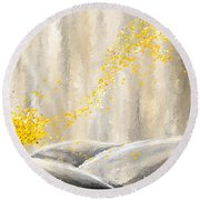 Yellow And Gray Landscape Round Beach Towel