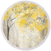 Yellow And Gray Tree Round Beach Towel
