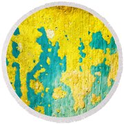 Round Beach Towel featuring the photograph Yellow And Green Abstract Wall by Silvia Ganora