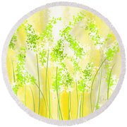 Yellow And Green Art Round Beach Towel by Lourry Legarde