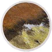 Round Beach Towel featuring the photograph Yellow And Orange Converging by Nadalyn Larsen