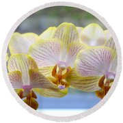 Yellow And Pink Orchids Round Beach Towel