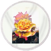 Round Beach Towel featuring the painting Yellow Rose Fringed In Red by Greta Corens