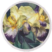 Watercolor Of A Tall Bearded Iris Painted In Yellow With Purple Veins Round Beach Towel