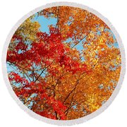 Yellow And Red Round Beach Towel by Patrick Shupert