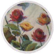 Yellow And Red Roses  Round Beach Towel
