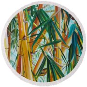 Round Beach Towel featuring the painting Yellow Bamboo by Marionette Taboniar