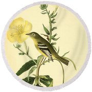 Yellow-bellied Flycatcher Round Beach Towel by Philip Ralley