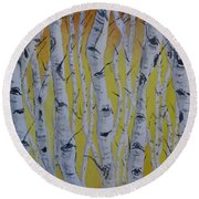 Round Beach Towel featuring the painting Yellow Birch by Kelly Mills