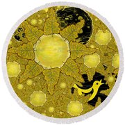 Yellow Bird Sings In The Sunflowers Round Beach Towel by Carol Jacobs