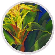 Yellow Bromeliad Round Beach Towel