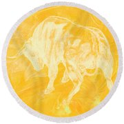 Yellow Bull Negative Round Beach Towel