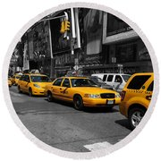 Round Beach Towel featuring the photograph Yellow Cabs by Randi Grace Nilsberg
