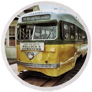Yellow Car - Los Angeles Round Beach Towel