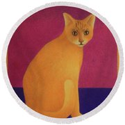 Yellow Cat Round Beach Towel by Pamela Clements