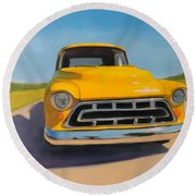 Yellow Chevy Round Beach Towel