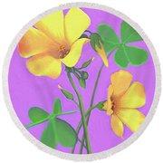 Yellow Clover Flowers Round Beach Towel by Sophia Schmierer